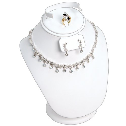 White Leather Jewelry Necklace/Earring/Ring/Bracelet/Watch/Bangle Combination Display Stand ~ Holds 1 of Each