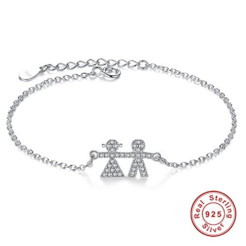(Lovely Cute Jewelry 925 Sterling Silver Link Chain Bracelet Pave Crystal Boy And Girl Charm Bracelet)