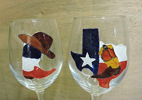 Stained Glass Cowboy - Two hand painted wine glasses with Texas designs: Texas Flag boot with Cowboy Hat; Texas Flag outline with Boot over Texas