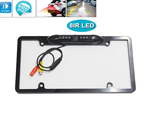 RedWolf Number License Plate Frame Car Rear View Backup Camera Stainless Steel Car Trunk & RV W/ 8 Infrared LEDs Night Vision