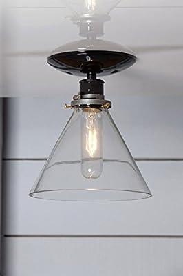 Glass Cone Shade Light - Semi Flush Mount - Black