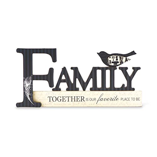 K&K Interiors 13022C Family Cutout Tabletop Sign with Bird