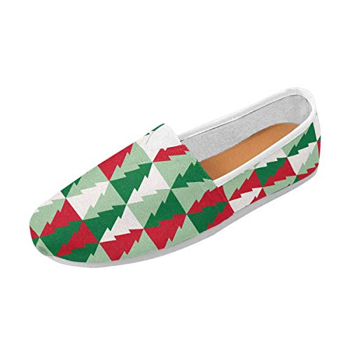 INTERESTPRINT Christmas Tree Pattern Women's Casual Loafers Canvas Flats Shoes US6