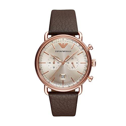 Emporio Armani Men's Dress Stainless Steel Quartz Watch with Leather Calfskin Strap, Brown, 22 (Model: AR11106)