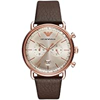 Emporio Armani Men's 'Dress' Quartz Stainless Steel and Leather Casual Watch, Color:Brown (Model: AR11106)