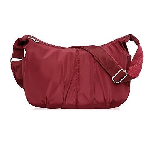 ydezire® Ladies nailon luz peso Cruz Cuerpo Messenger Bag mujeres hombro bolso Satchel Bolso granate