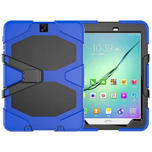 "Hfly Heavy Duty Case for Samsung Galaxy Tab S2 9.7, Three Layer Rugged Shockproof Armor Bumper Protective Case for Galaxy Tab S2 9.7"" SM-T810/ T815/ T813/ T819 Blue"