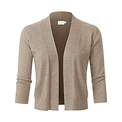JSCEND Womens Classic 3/4 Sleeve Open Front Cropped Bolero Cardigan (S~3XL) at Women's Clothing store