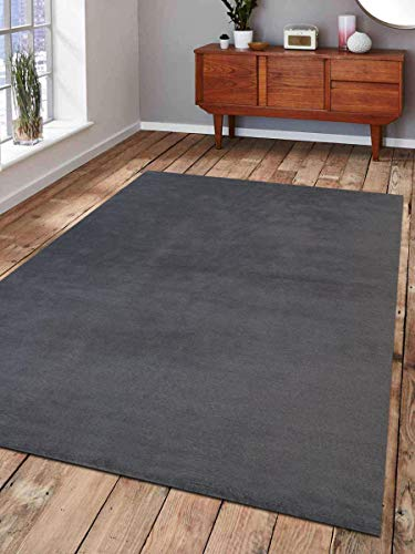 Rugsotic Carpets Hand Knotted Tibbati Wool 5'x8' Area Rug Solid Charcoal T00111 from Rugsotic Carpets