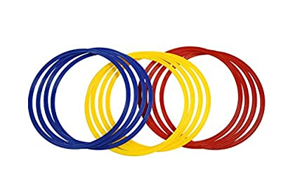 """Trademark Innovations Speed and Agility Training Rings with Carrycase (Set of 12), 18"""" Diameter, Multicolor"""