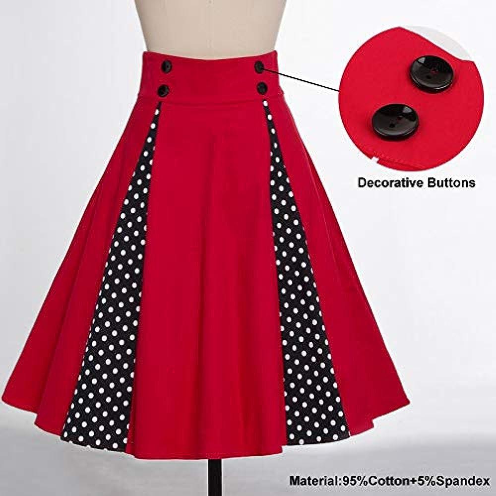 GYYWAN Lunares Contraste Vintage Falda Midi Roja Botón Decorativo ...