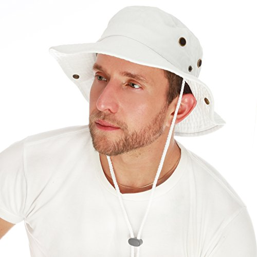 THE HAT DEPOT 300N1510 Wide Brim Foldable Double-Sided Outdoor Boonie Bucket Hat (S/M, White) -