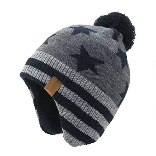 (JOYEBUY Baby Boys Girls Warm Winter Knit Hats Fleece Skiing Earflap Caps (Grey Star, M(3-5 Years)))
