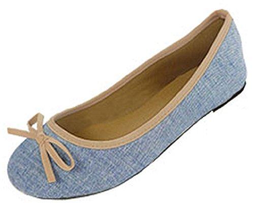 Shoes8teen Skor 18 Kvinnor Duk Ballerinabalettlägenheter Skor 5074a Tan / Lt. Blå