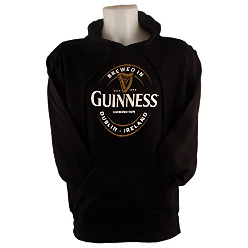 Guinness Pullover Hoodie With Large Brewed In Dublin Label, Black Colour - Guinness Irish Label