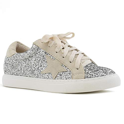 Women's Casual Low Top Trendy Fashion Sneakers Flats Silver Size.8 ()