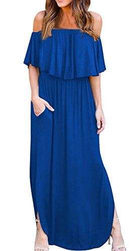 Robes Maxi t Soire Col de t C Cocktail Bleue de Couleur Robes Fashion Plage Femmes avec Simple Fendue lgante Fashion Robe de Long Couleur Bateau Lotus Unie Casual Feuille Fte t4Aqz7nRw