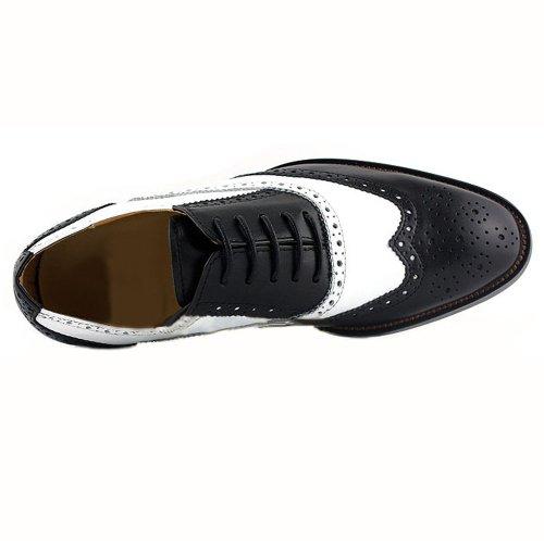 Fulinken Heren Zwart-wit Lederen Formele Schoenen Oxford Laarzen Klassieke Brogue Heren Schoenen
