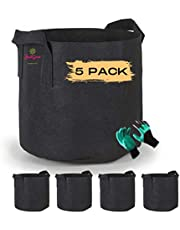 JUSTGROW【5 PACK】7 Gallon Vegetable Grow Bags w/Handles, Reinforced Non-Woven Fabric, Reusable, Heavy Duty and Extremely Durable Fabric Planting Pots / Growing Bags (7 Gallon) with FREE pair of Gardening Gloves