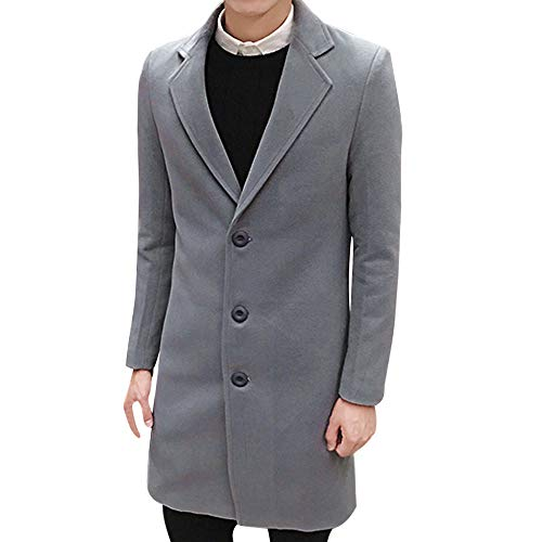 Toimothcn Men Single Breasted Pea Coat Formal Business Blazer Suit Long Jacket Outwear (Light Gray,M)