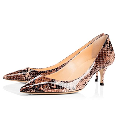 Pumps Pointed Kitten Court Brown ELASHE Heels Shoes Stiletto 2 6 5cm Women Classic Toe Python qaxxtwRI