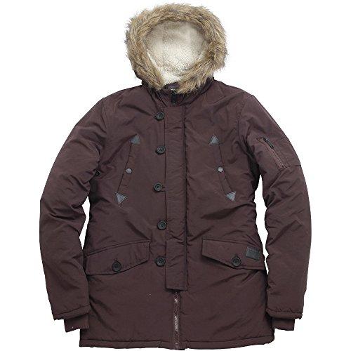 Brave Soul Mens Noel Fashion Fit Nylon Parka Jacket Burgundy