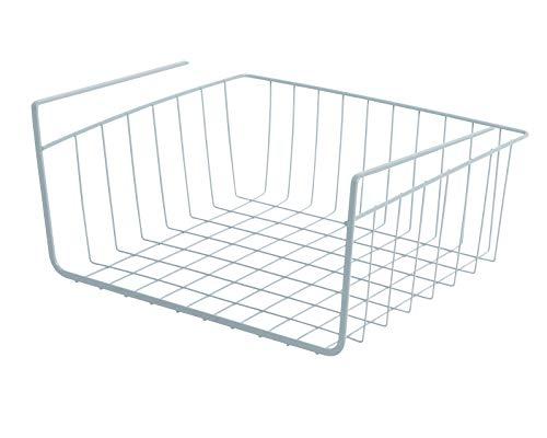 Smart Design Undershelf Storage Basket w/Snug Fit Arms - Small - Steel Metal Frame - Rust Resistant Finish - Cabinet, Pantry, Shelf Organization - Kitchen (12 x 5.5 Inch) [Light Blue]