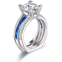Newshe Wedding Band Engagement Ring Sets For Women 925 Sterling Silver Round Blue White Cz Size 5-12
