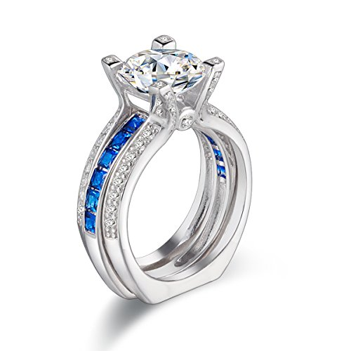 Newshe Wedding Band Engagement Ring Sets For Women 925 Sterling Silver Round Blue White Cz Size 8 by Newshe Jewellery