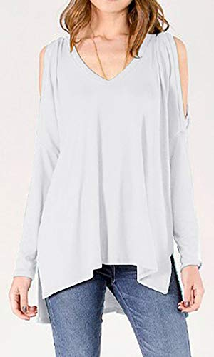 Top Epaule T Shirts Femme Blouse Chemise Tee Tops Blanc Pull Shirt Mode Chic Longues laamei Hauts Dnud Manches Sexy xzpFEaE