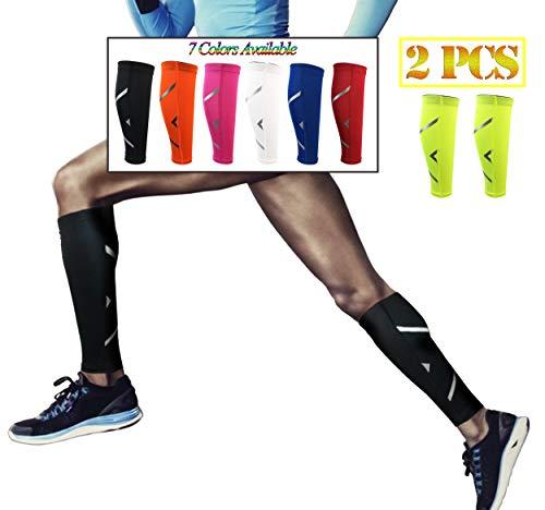 HiRui Calf Compression Sleeve, Calf Brace Leg Sleeve Support for Shin Splint & Calf Pain Relief – Basketball Football Calf Sleeve, Guard for Youth & Adult Runners-Color as Shown (1 Pair) (Yellow, M)