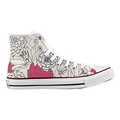 Personalizzate artigianali All stampa flowers Star Seventies Alta Converse scarpe d1Xwqdzg