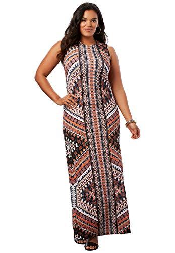 Roamans Women's Plus Size Print Maxi Dress - Orange Multi Tribal, 12