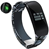 Mynike Fitness Tracker Heart Rate Monitor Smart Bracelet Waterproof Swimming Sport Wristband Smartband Pedometer Calorie Counter Smart Watch for Apple IOS Android Smartphone (Camouflage Blue)