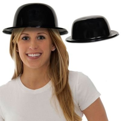 Black Plastic Derby Hats - 12 Pack -