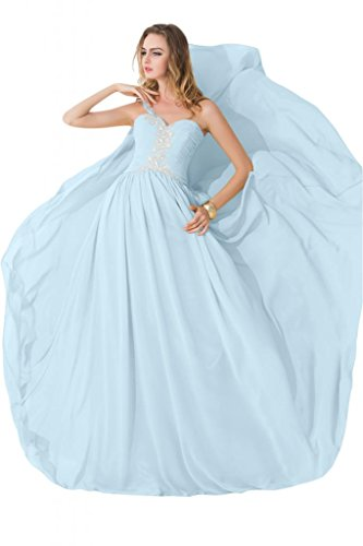 sunvary modesto One hombro gasa único beidesmaid Pageant vestidos 2015 Luz Azul Cielo