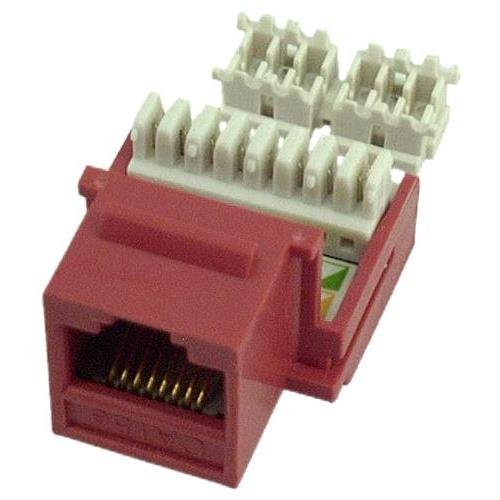 10 Pack of RJ4508 Female Keystone Jack Connector Red Category 5e