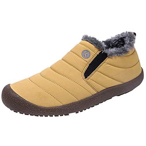 (Hots!!! Teresamoon Men's Non-Slip Plus Velvet Warm Cotton Shoes Snow Boots Booties Plush Shoes)