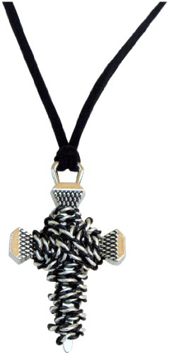 Double Faith Rhodium Silver Cross Pendant with Artistic Hand Wrapped Silver and Black Twisted Wire.