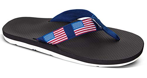 Scott Hawaii Mens Hokulea Sandals | Size 13 Black Flip-Flop | American Flag Design | Non-Marking White Bottoms
