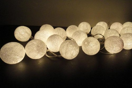 cotton ball string lights blue - 6