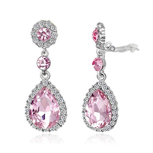 Gorgeous Austrian Crystal Rhinestone Ear Clip on Earring Wedding Bridal Teardrop Drop Dangle Earrings (Clip on ()