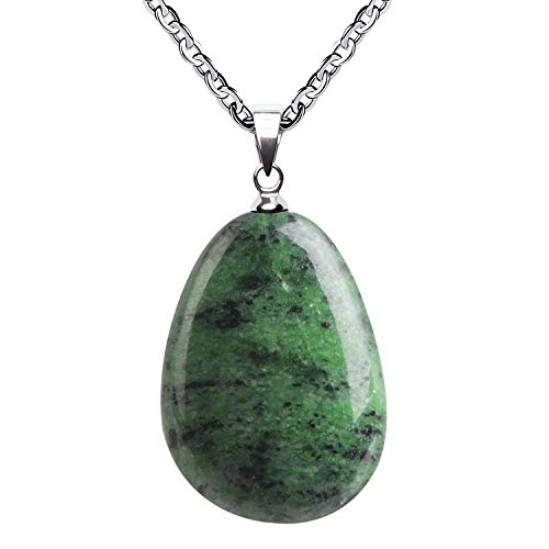 Jade Gemstone Necklace (iSTONE Natural Gemstone Water Drop Green Jade Pendant Necklace with Stainless Steel Chain 20 Inch¡­)