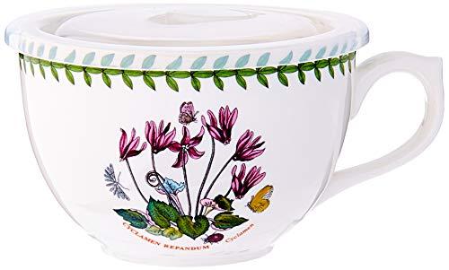 Portmeirion 612648 Botanic Garden Jumbo Cup with Lid, 20Oz, Cyclamen, 20 oz, White