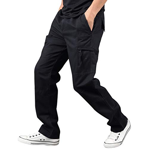 LUCAMORE Men's Casual Solid Outdoor Pants Straight Leg Sports Multi-Pockets Cargo Pants Black
