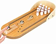 Jhua Mini Bowling Game, Wooden Tabletop Bowling Game Indoor Bowling Set Desktop Bowling Games for Kids, Adults