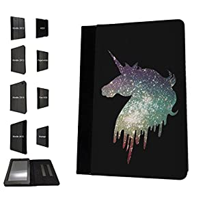 002605 - Sparkle Cool Fun Unicorn Cute Design Amazon Kindle Fire HD 8 (2017) Flip Case Purse pouch Stand Cover