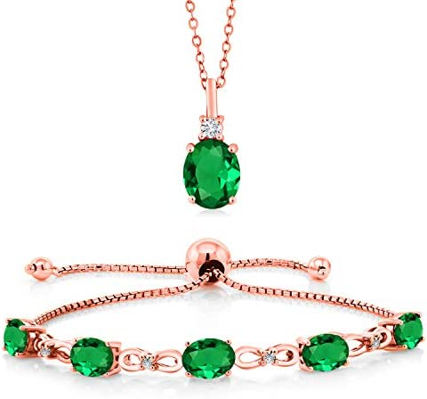 Gem Stone King 4.53 Ct Oval Green Nano Emerald 18K Rose Gold Plated Silver Lab Grown Diamond Pendant Bracelet Set