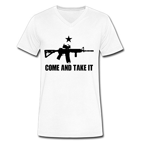 War Game 76 Black AR 15 Art Men's White Medium V Neck T-Shirt