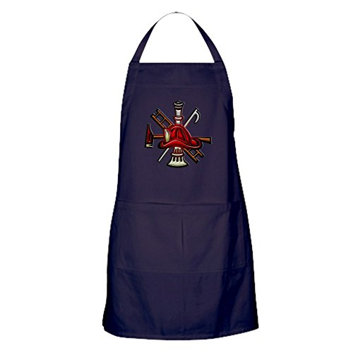 CafePress - Apron (Dark) Firefighter Graphic Symbols Tools - 100% Cotton Kitchen Apron with Pockets, Perfect Grilling Apron or Baking (Firefighter Apron)